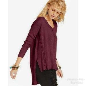 Free People Slouchy Plum Maroon Thin Knit Sweater